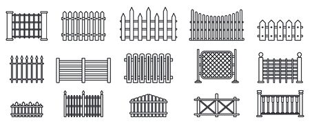 Conjunto de iconos de valla de jardín, estilo de contorno