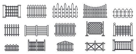Zestaw ikon ogrodzenia ogrodowego, styl konturu