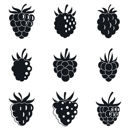 Garden raspberry icons set, simple style