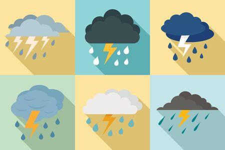Thunderstorm icons set, flat style