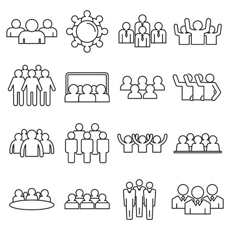 Audience customer icons set, outline style Illustration