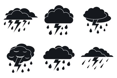 Danger thunderstorm icons set, simple style