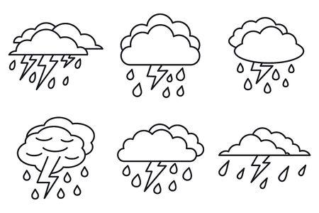 Weather thunderstorm icons set, outline style Illustration