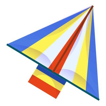 Paper kite icon, cartoon style
