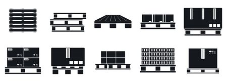 Pallet tray icons set, simple style Illustration
