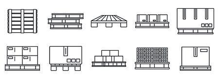 Pallet pan icons set, outline style