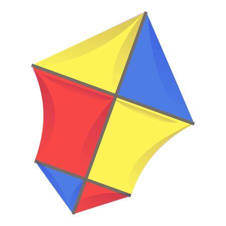 Fabric kite icon, cartoon style