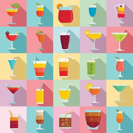 Cocktail icons set, flat style
