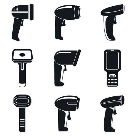 Market barcode scanner icons set, simple style Illustration