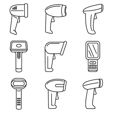 Operator barcode scanner icons set, outline style
