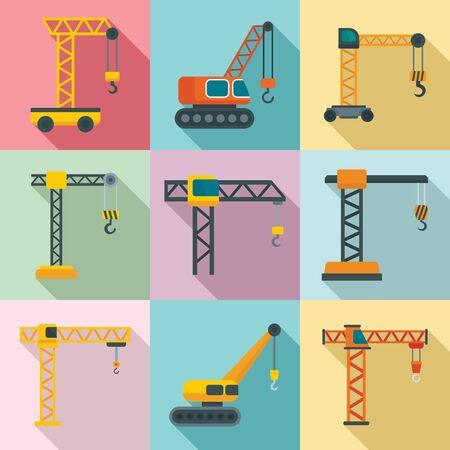 Crane icons set. Flat set of crane vector icons for web design  イラスト・ベクター素材