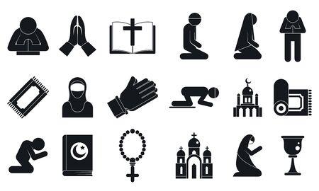 Prayer icons set, simple style