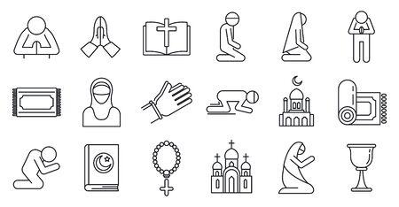 Religion prayer icons set, outline style