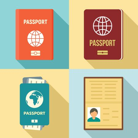 Passport icons set, flat style Çizim