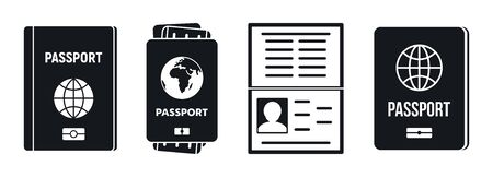 Passport document icons set, simple style