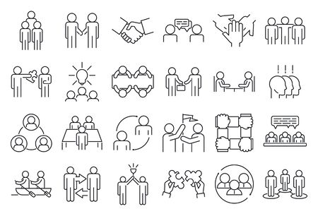 Business cooperation icons set, outline style Illustration
