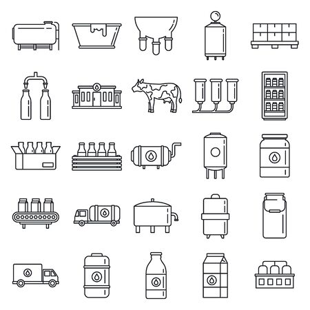 Industry milk factory icons set, outline style Ilustração