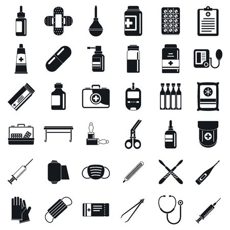 First medical aid kit icons set. Simple set of first medical aid kit vector icons for web design on white background Vector Illustration