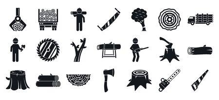 Deforestation icons set. Simple set of deforestation vector icons for web design on white background 일러스트