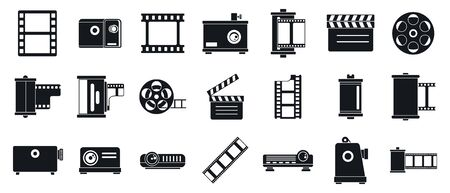 Filmstrip camera icons set. Simple set of filmstrip camera vector icons for web design on white background  イラスト・ベクター素材