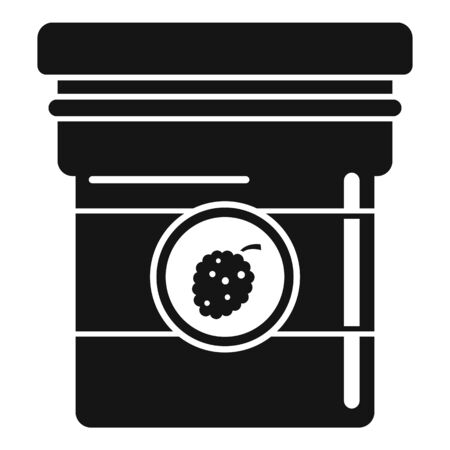 Raspberry jam jar icon, simple style