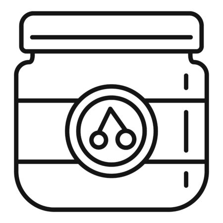Cherry jam jar icon, outline style Stock Illustratie