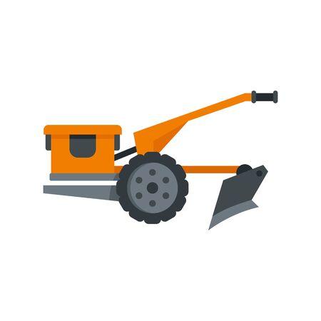 Walking tractor icon, flat style  イラスト・ベクター素材