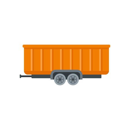 Farm wheat trailer icon, flat style