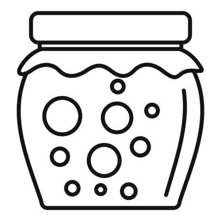 Tasty jam jar icon, outline style