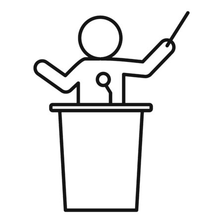Speaker lecture icon, outline style
