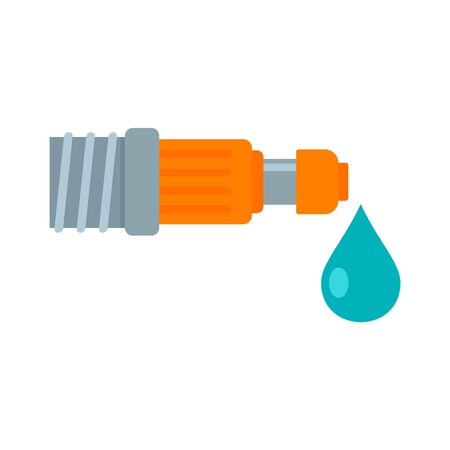 Drop irrigation pipe icon, flat style