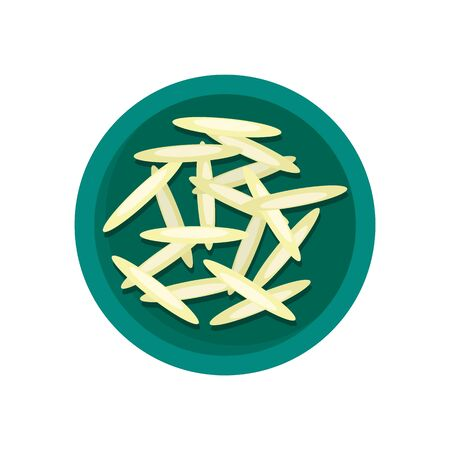 Long rice on plate icon, flat style