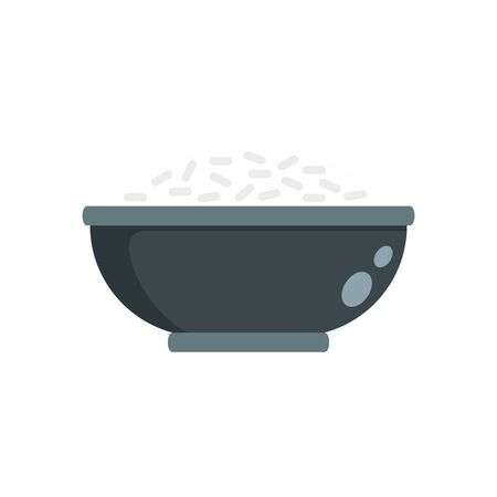 Cooked rice bowl icon, flat style