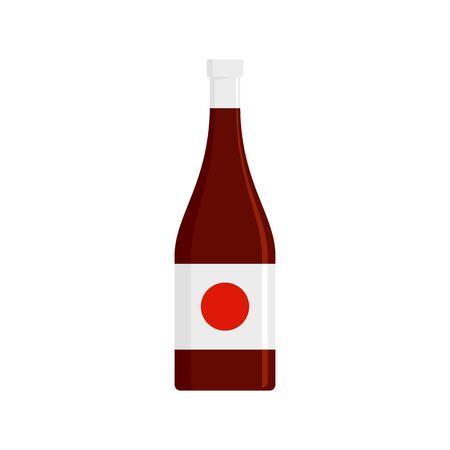 Soy sauce bottle icon, flat style