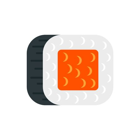 Caviar sushi roll icon, flat style