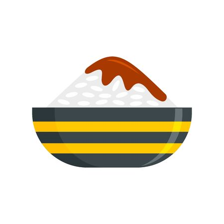Bowl of rice icon, flat style Stock Vector - 131128396