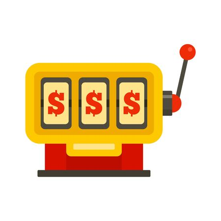 Dollar slot machine icon, flat style