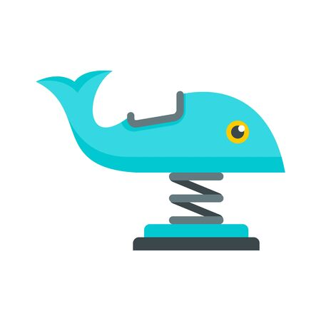 Whale amusement ride icon, flat style