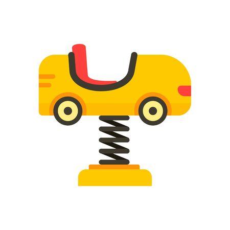 Kid car on spring icon, flat style Illustration