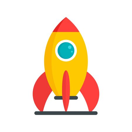 Kid amusement rocket icon, flat style Illustration