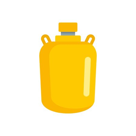 Gold water flask icon, flat style