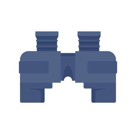Blue marine binocular icon, flat style