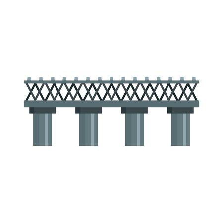 Old railroad bridge icon. Flat illustration of old railroad bridge vector icon for web design