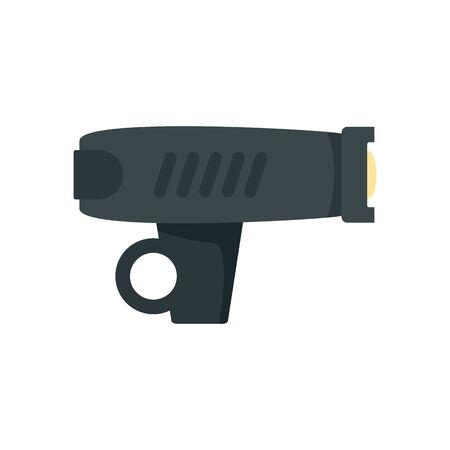 Bike flashlight icon, flat style