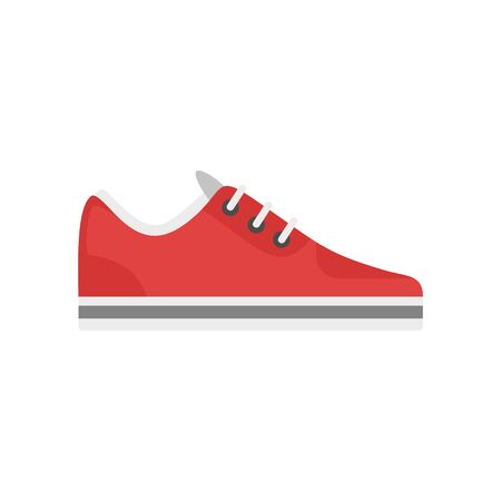 Red sneaker icon, flat style