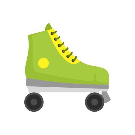 Green roller skates icon, flat style Illustration
