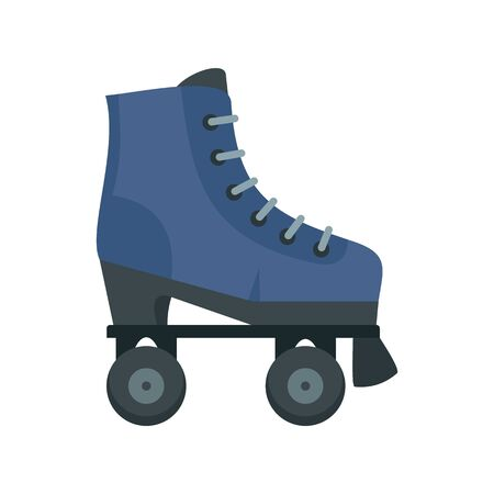 High roller skates icon, flat style 向量圖像