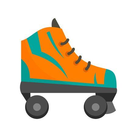 Orange roller skates icon, flat style