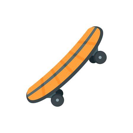 Plastic skateboard icon, flat style