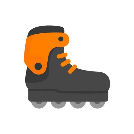 Carbon inline skates icon, flat style